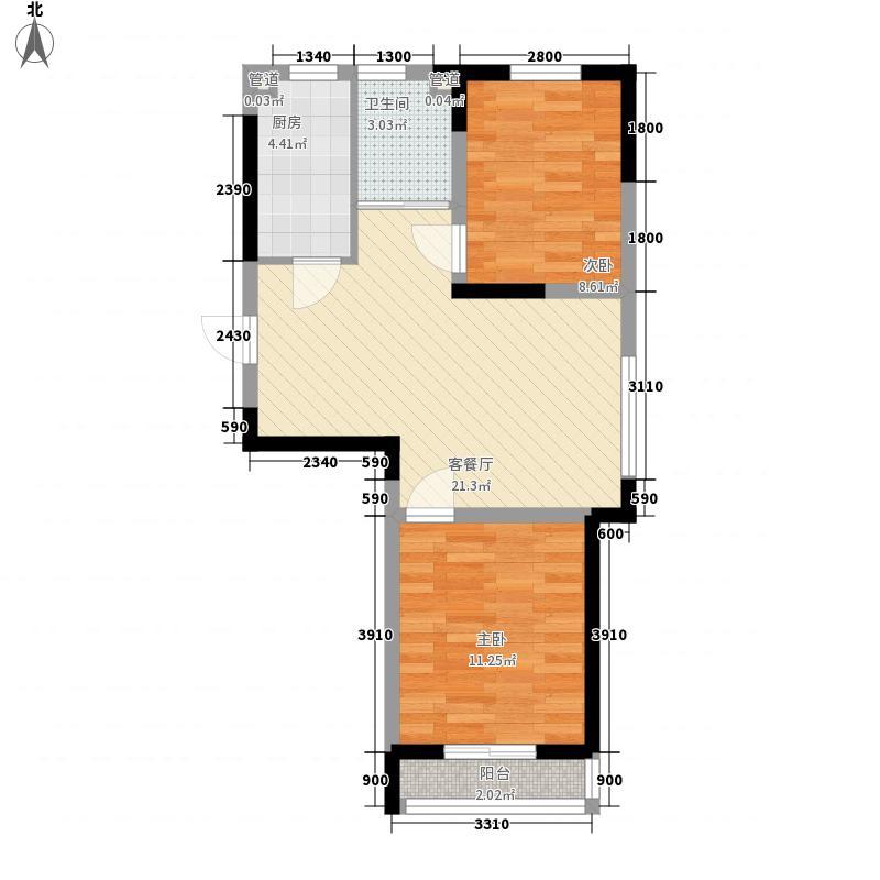 益和国际城二期25#28#楼C2户型2室1厅1卫1厨