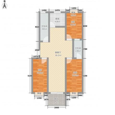 水岸绿城3室1厅2卫1厨111.00㎡户型图