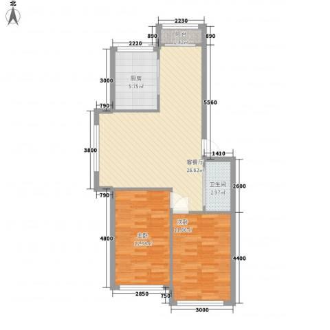 肖皮尖2室1厅1卫1厨85.00㎡户型图