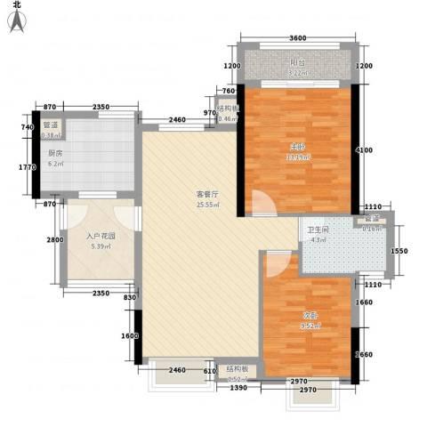 翡翠绿洲・庄园豪宅2室1厅1卫1厨92.00㎡户型图