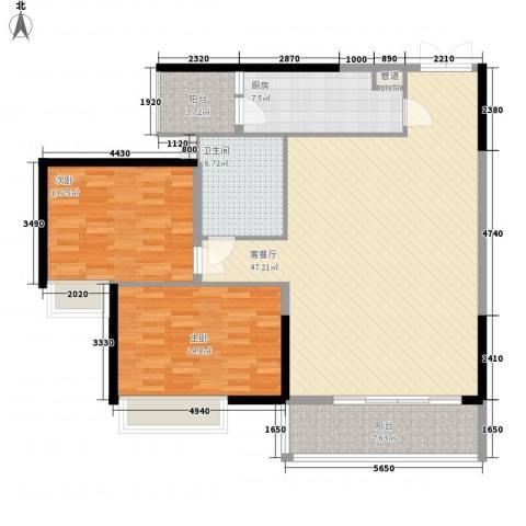 世纪滨江豪园2室1厅1卫1厨143.00㎡户型图