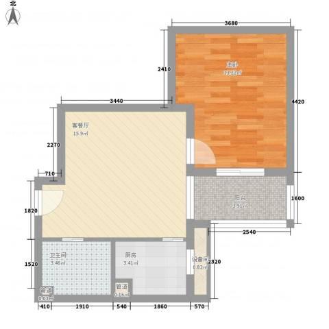 百家湖花园伦敦城1室1厅1卫1厨60.00㎡户型图