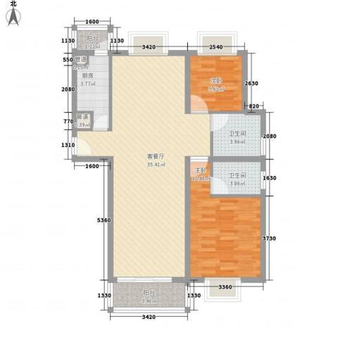 中央广场2室1厅2卫1厨100.00㎡户型图