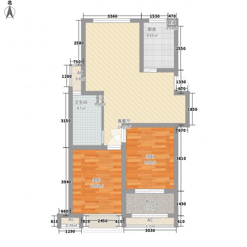 新四合院88.00㎡新四合院户型图B12室2厅1卫1厨户型2室2厅1卫1厨