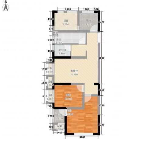 旺角公馆2室1厅1卫1厨95.00㎡户型图