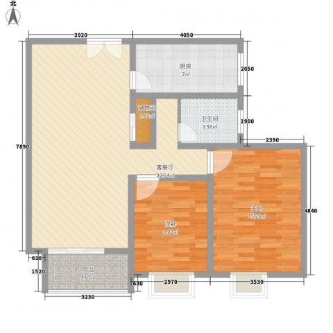 金色新城熙园2室1厅1卫1厨104.00㎡户型图