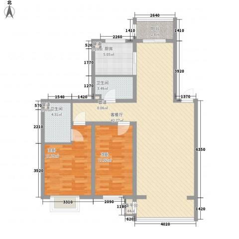 吴中印象2室1厅2卫1厨106.00㎡户型图