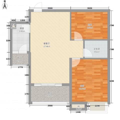 宝铼雅居2室1厅1卫1厨82.00㎡户型图