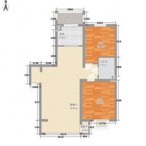 吴中印象2室1厅1卫1厨98.00㎡户型图