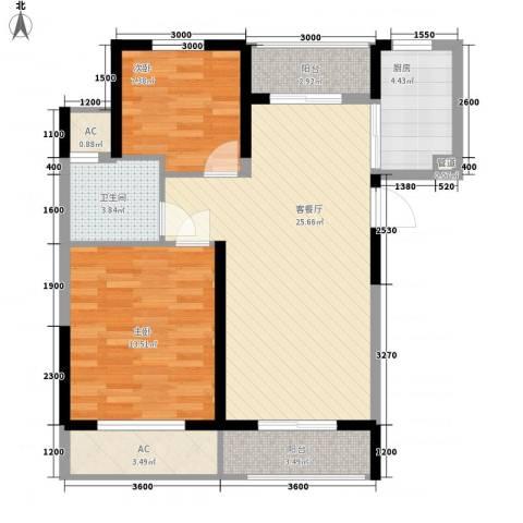 丰和新城二期2室1厅1卫1厨86.00㎡户型图