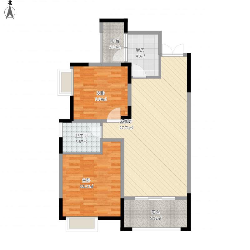 和睦人家A2户型2室2厅1卫88.98平米