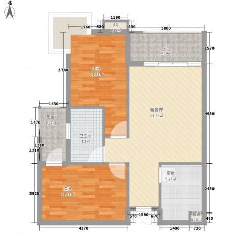 宝铼雅居2室1厅1卫1厨80.00㎡户型图