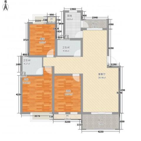 万科北区3室1厅2卫1厨100.15㎡户型图