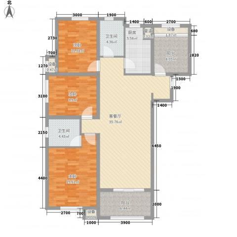 保利拉菲公馆3室1厅2卫1厨116.37㎡户型图