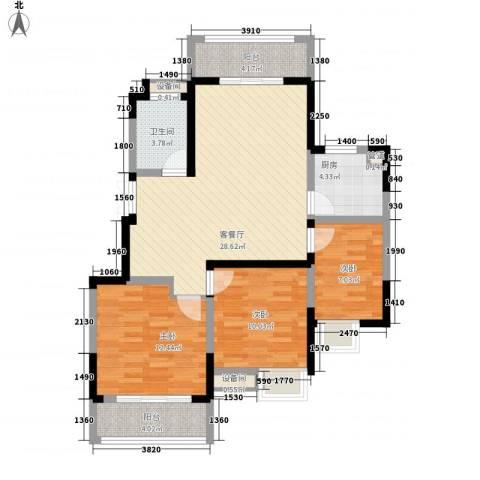 天鹅湖花园3室1厅1卫1厨110.00㎡户型图
