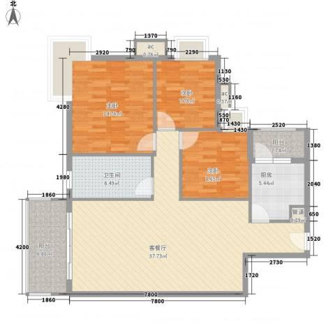 宝铼雅居3室1厅1卫1厨108.00㎡户型图