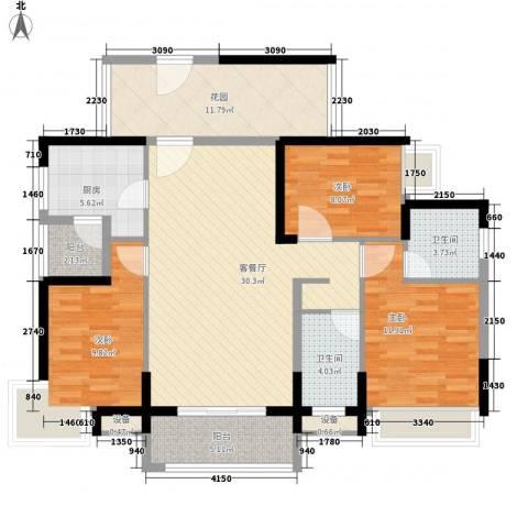 大欣城・世纪花园3室1厅2卫1厨135.00㎡户型图