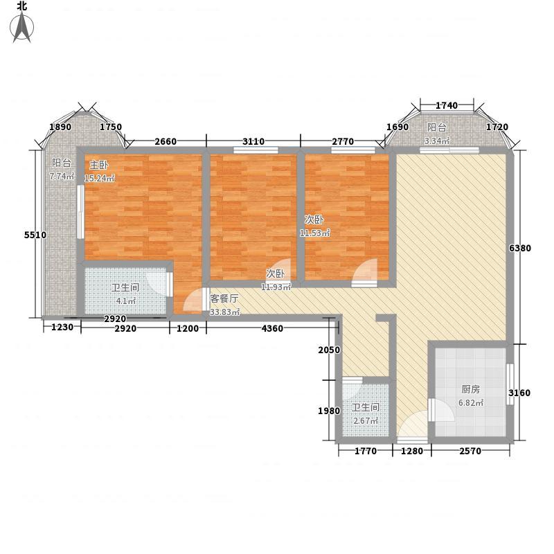 亚运豪庭141.52㎡户型3室2厅2卫1厨