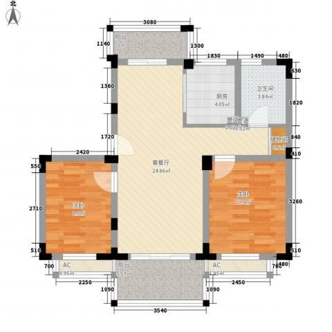 颐养居2室1厅1卫1厨74.34㎡户型图