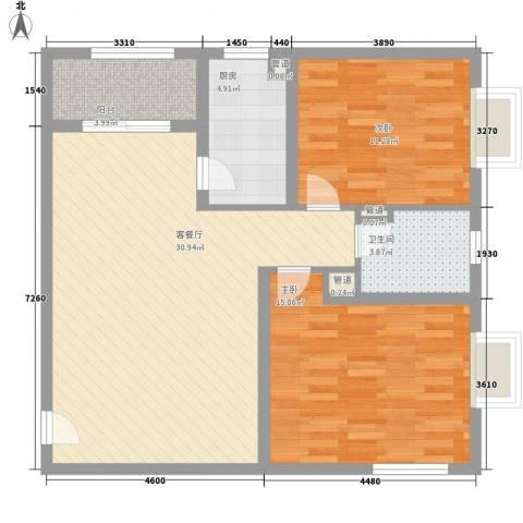 A+5米42室1厅1卫1厨100.00㎡户型图