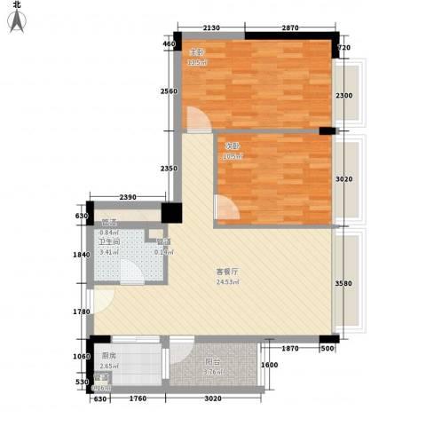 天成国际・金寓2室1厅1卫1厨89.00㎡户型图