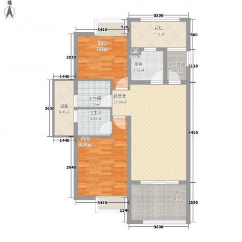 经典花苑2室0厅2卫1厨113.00㎡户型图