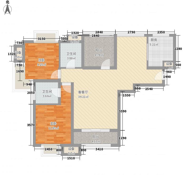 雅戈尔太阳城户型图二期勃朗4#标准层K1户型 3室2厅1卫1厨