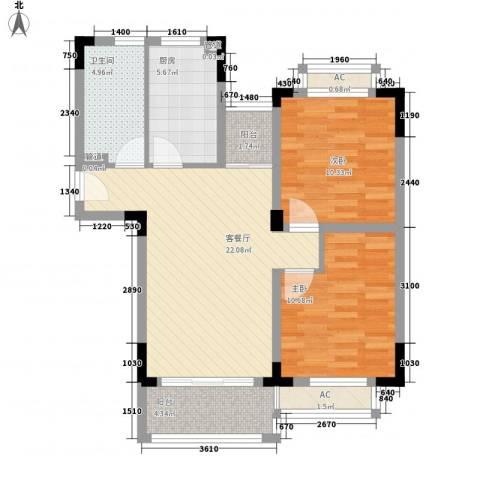 颐养居2室1厅1卫1厨72.85㎡户型图