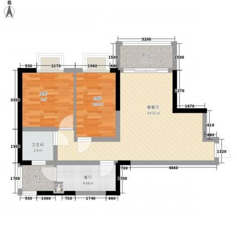 孟乐新城2室2厅1卫0厨74.00㎡户型图