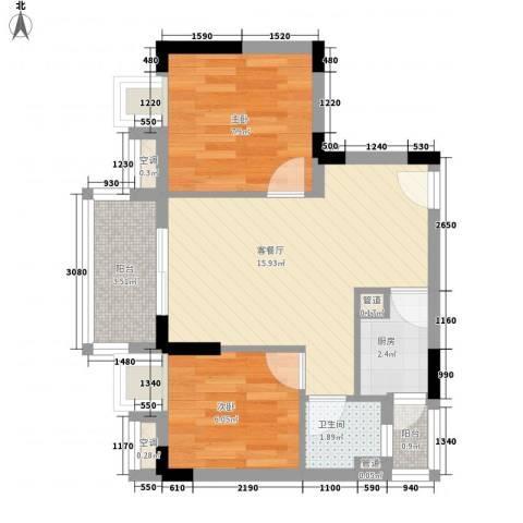 东方苑2室1厅1卫1厨58.00㎡户型图