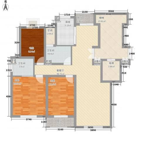 正棋山1号3室1厅2卫1厨109.68㎡户型图