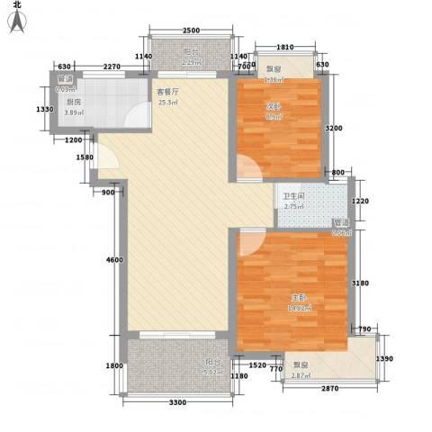 万泉经典2室1厅1卫1厨63.12㎡户型图