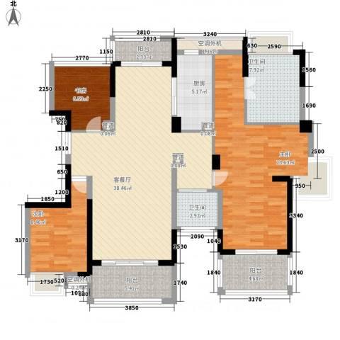 东方玫瑰园3室1厅2卫1厨150.00㎡户型图