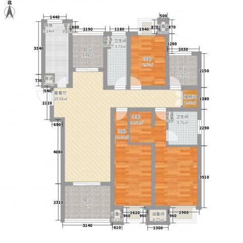 绿地中央广场3室1厅2卫1厨104.00㎡户型图