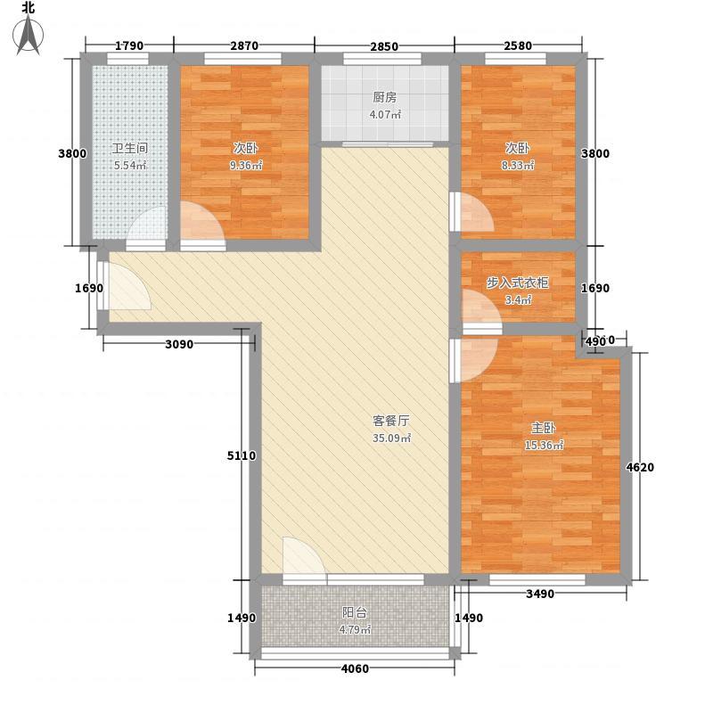 华瑞尚品124.00㎡一期4号楼标准层E户型3室2厅1卫1厨