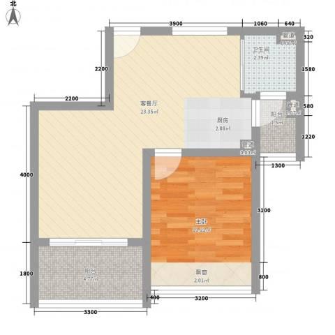 万泉经典1室1厅1卫0厨56.00㎡户型图