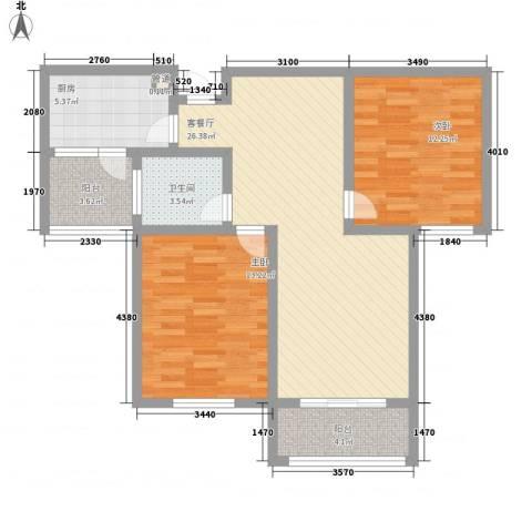 天山花园2室1厅1卫1厨100.00㎡户型图