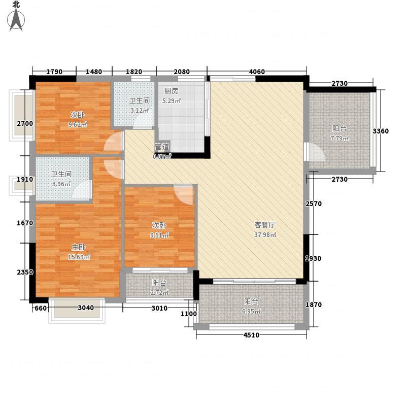 天鹅湾137.00㎡爱琴心岸10栋6-20层标准层04户型3室2厅2卫1厨
