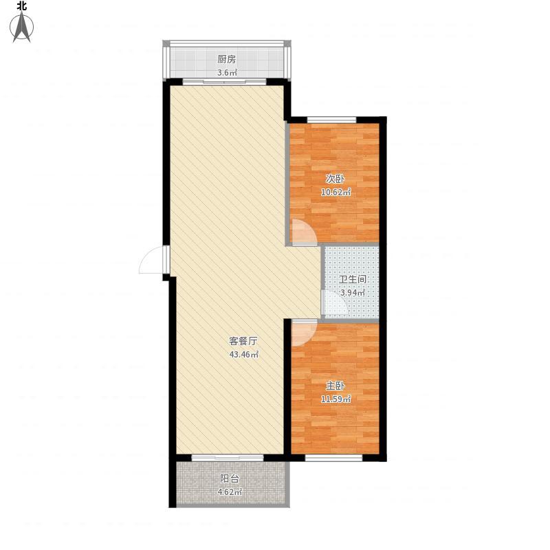 B1户型2室2厅1厨1卫92.92m²