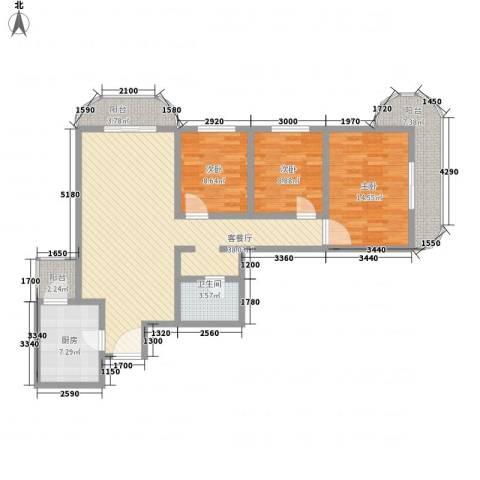 亚运豪庭3室1厅1卫1厨137.00㎡户型图
