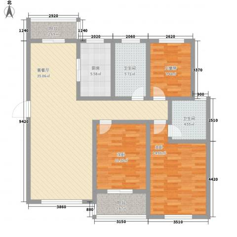 天山花园3室1厅2卫1厨132.00㎡户型图