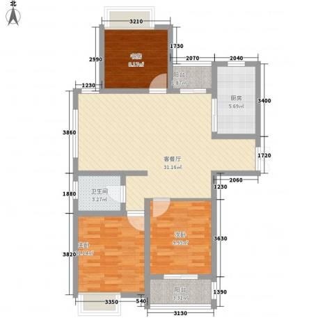 天山花园3室1厅1卫1厨108.00㎡户型图
