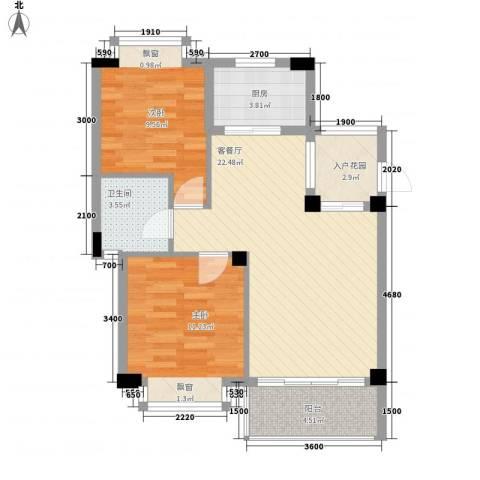椰蓝湾2室1厅1卫1厨71.00㎡户型图