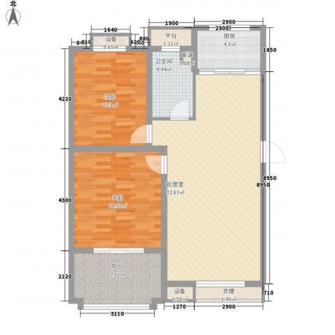波塔东郡2室0厅1卫1厨90.00㎡户型图
