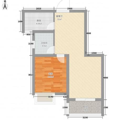 天山花园1室1厅1卫1厨62.00㎡户型图