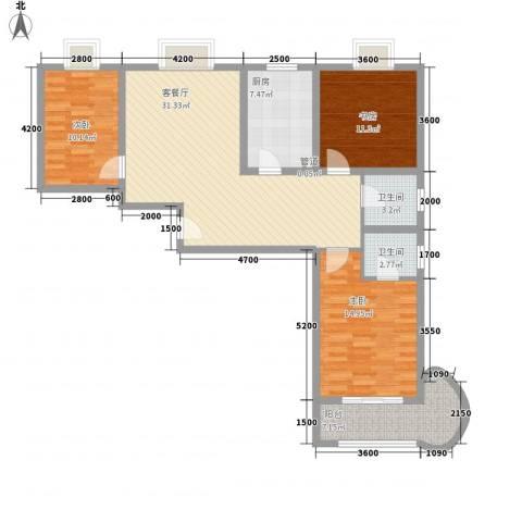 浦洲花园3室1厅2卫1厨127.00㎡户型图