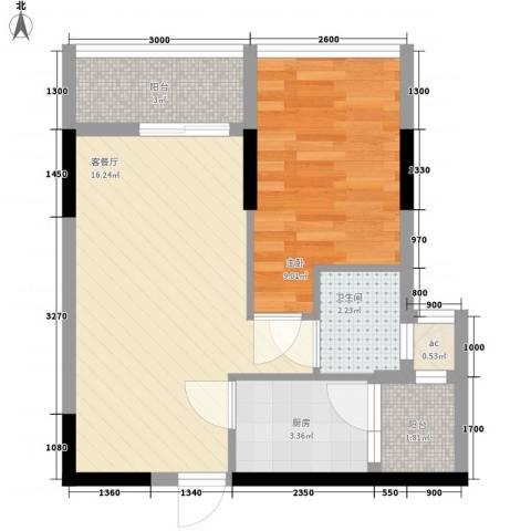 福康宁花园1室1厅1卫1厨53.00㎡户型图