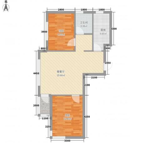 安邦阳光尚城2室1厅1卫1厨84.00㎡户型图