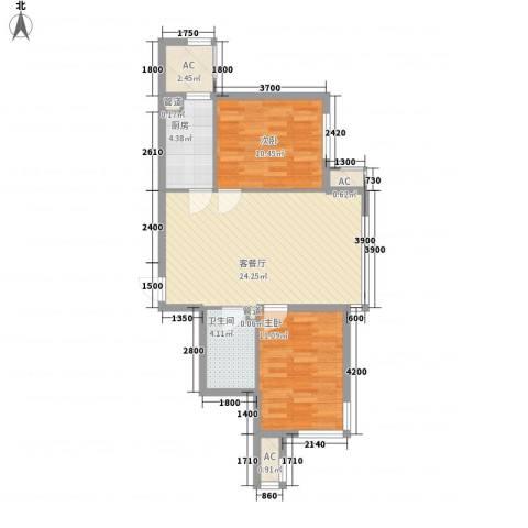 安邦阳光润城2室1厅1卫1厨83.00㎡户型图