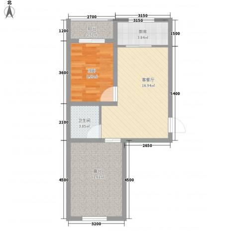 法兰之香1室1厅1卫1厨47.21㎡户型图